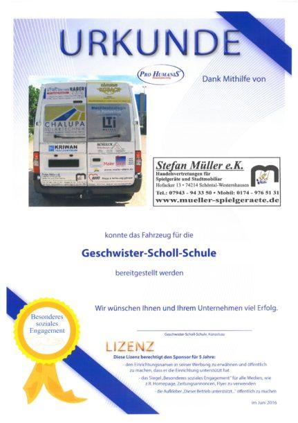 Urkunde der Geschwister-Scholl-Schule